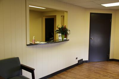 reception desk and door to exam rooms at Elk Grove Smile Center
